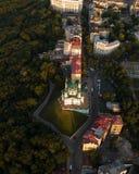Panorama da cidade de Kiev com uma vista do rio de Dnieper, dos distritos históricos e industriais da cidade e imagens de stock royalty free