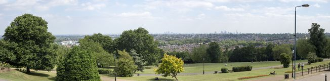 Panorama da cidade de Londres do palácio de alexandra imagens de stock royalty free