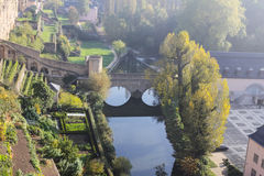 Panorama da cidade de Luxembourg do amanhecer Fotos de Stock Royalty Free