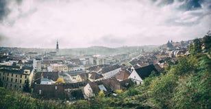 Panorama da cidade de Trebic, filtro checo, análogo foto de stock royalty free