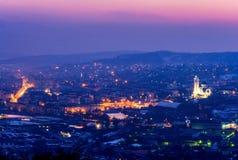 Panorama da cidade de Zalau, condado de Salaj, a Transilvânia, Romênia imagem de stock