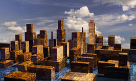 Panorama da cidade do Cyber Fotografia de Stock Royalty Free