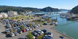 Panorama da cidade e do porto de Picton em Autumn Morning Imagem de Stock Royalty Free