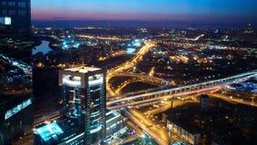 Panorama da cidade no por do sol Imagem de Stock Royalty Free