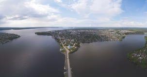 Panorama da cidade Vista superior Permanente Krai Dobryanka foto de stock