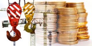 Panorama da construção no dinheiro do fundo Fotografia de Stock Royalty Free