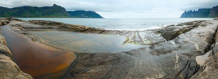 Panorama da costa de Senja do verão (Ersfjord irregular, Noruega) Fotografia de Stock Royalty Free