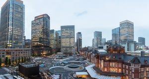 Panorama da estação do Tóquio em um dia nebuloso Fotos de Stock Royalty Free