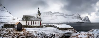 Panorama da igreja de Vidareidi Fotografia de Stock