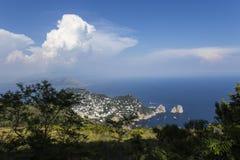 Panorama da ilha de Capri de Monte Solaro, em Anacapri Fotografia de Stock Royalty Free