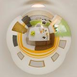 panorama da ilustração 3d do interior da cozinha Imagens de Stock