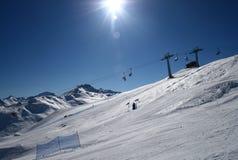Panorama da inclinação do esqui Imagens de Stock