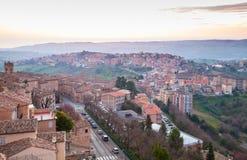 Panorama da manhã Província de Fermo, Itália Foto de Stock