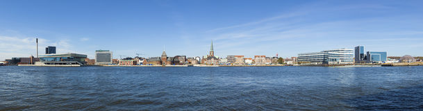 Panorama da margem de Aarhus Imagem de Stock