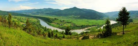 Panorama da mola de um lago da floresta foto de stock royalty free
