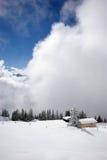 Panorama da montanha, cena do inverno Fotos de Stock Royalty Free