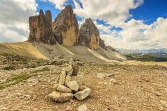Panorama da montanha das dolomites, Tre Cime Di Lavaredo, Sudtirol, Itália Fotografia de Stock Royalty Free