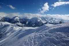 Panorama da montanha feito após o dia do pó Fotos de Stock