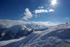 Panorama da montanha feito após o dia do pó Imagens de Stock Royalty Free