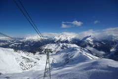 Panorama da montanha feito após o dia do pó Fotos de Stock Royalty Free