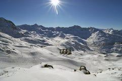 Panorama da montanha feito após o dia do pó Imagem de Stock Royalty Free