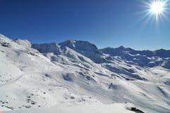 Panorama da montanha feito após o dia do pó Imagens de Stock