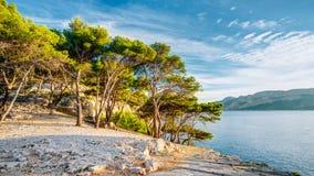 Panorama da natureza bonita de Calanques na costa dos azuis celestes de França Fotos de Stock