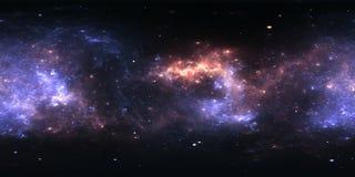 panorama da nebulosa do espaço de 360 graus, projeção equirectangular, mapa do ambiente Panorama esférico de HDRI Imagem de Stock
