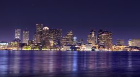 Panorama da noite de Boston Imagens de Stock