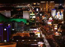 Panorama da noite de Las Vegas Fotos de Stock Royalty Free
