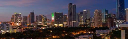 Panorama da noite de Miami Fotos de Stock Royalty Free