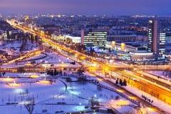 Panorama da noite de Minsk, Belarus fotografia de stock royalty free