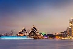Panorama da noite de Sydney Harbour visto de Kirribilli Fotos de Stock Royalty Free