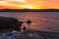 Panorama da noite em Malta Imagens de Stock