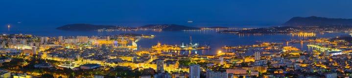 Panorama da noite Toulon Imagens de Stock