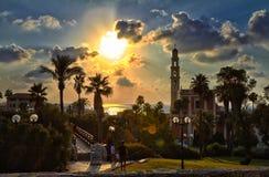 Panorama da noite velha de Jaffa foto de stock royalty free