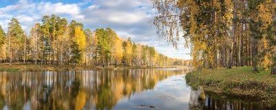 Panorama da paisagem do outono da manhã no lago com a floresta na costa, Rússia do vidoeiro, Ural, setembro foto de stock royalty free