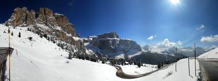 Panorama da passagem de Sella, Italy fotografia de stock royalty free