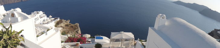 Panorama da plataforma perfeita, Santorini Imagens de Stock Royalty Free