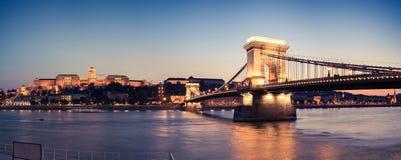 Panorama da ponte Chain e do castelo na noite fotografia de stock royalty free