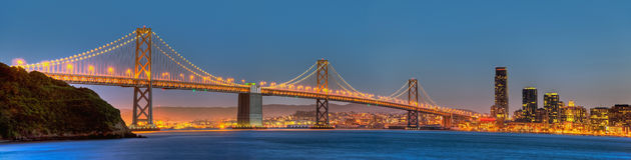 Panorama da ponte de San Francisco Bay Foto de Stock