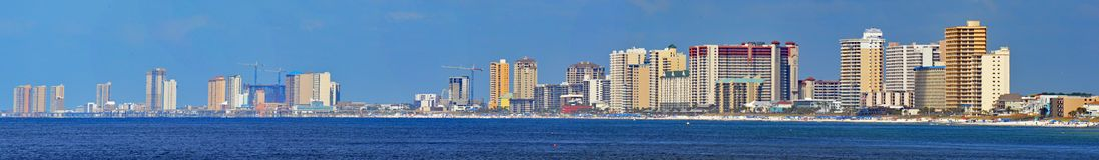 Panorama da praia da Cidade do Panamá, Florida imagem de stock