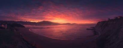 Panorama da praia de Arrigunaga em Getxo Fotos de Stock