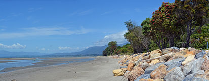 Panorama da praia de Collingwood na maré baixa, Nova Zelândia Foto de Stock Royalty Free