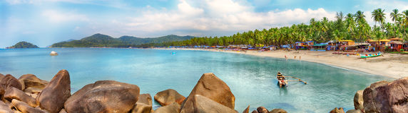 Panorama da praia de Goa, Palolem, Índia Fotos de Stock Royalty Free