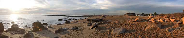 Panorama da praia de Hammonasset fotografia de stock royalty free