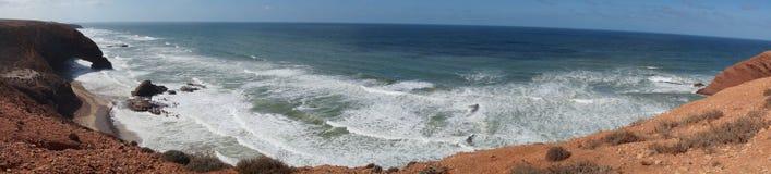 Panorama da praia de Legzira Fotos de Stock Royalty Free