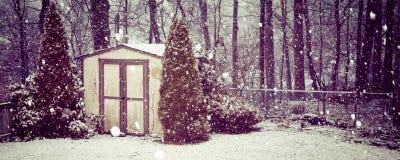 Panorama da queda de neve do vintage Imagem de Stock