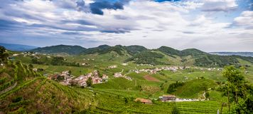 Panorama da região do vinho de Valdobbiadene foto de stock