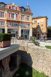 Panorama da rua central Knyaz Alexander mim na cidade de Plovdiv, Bulgária Fotografia de Stock